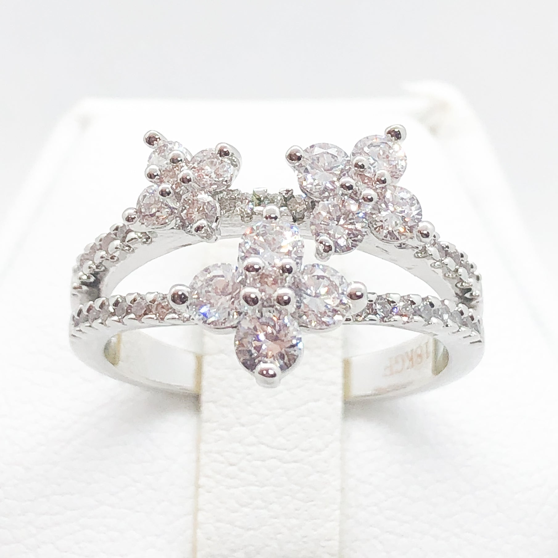ID:R7217 Women 18K White Gold GF Fashion Jewelry Marvelous Floral Design Cluster Cocktail Ring