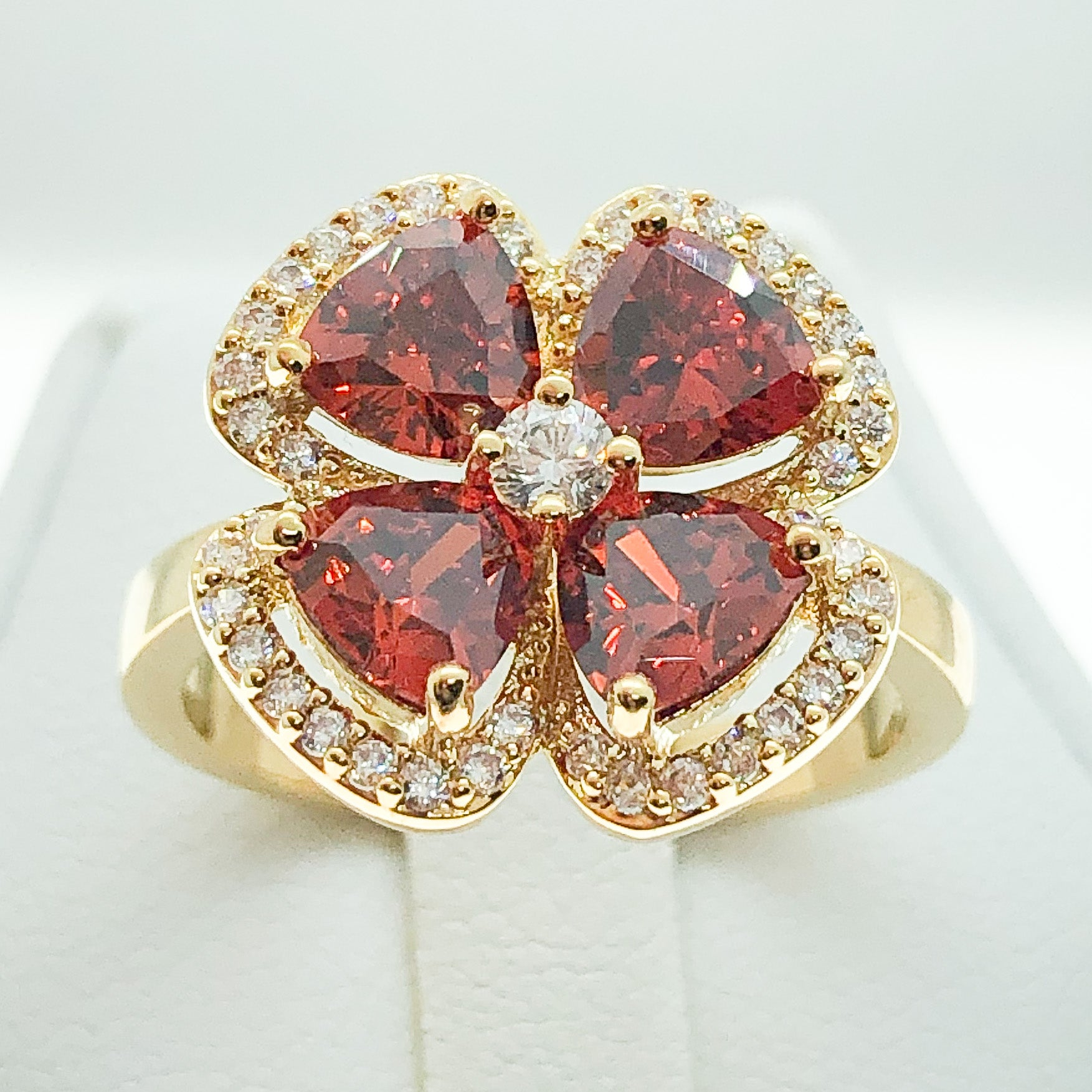 ID:R7170 Women 18K Yellow Gold GF Fashion Jewelry Glamorous Garnet and Clear Stones Floral Ring