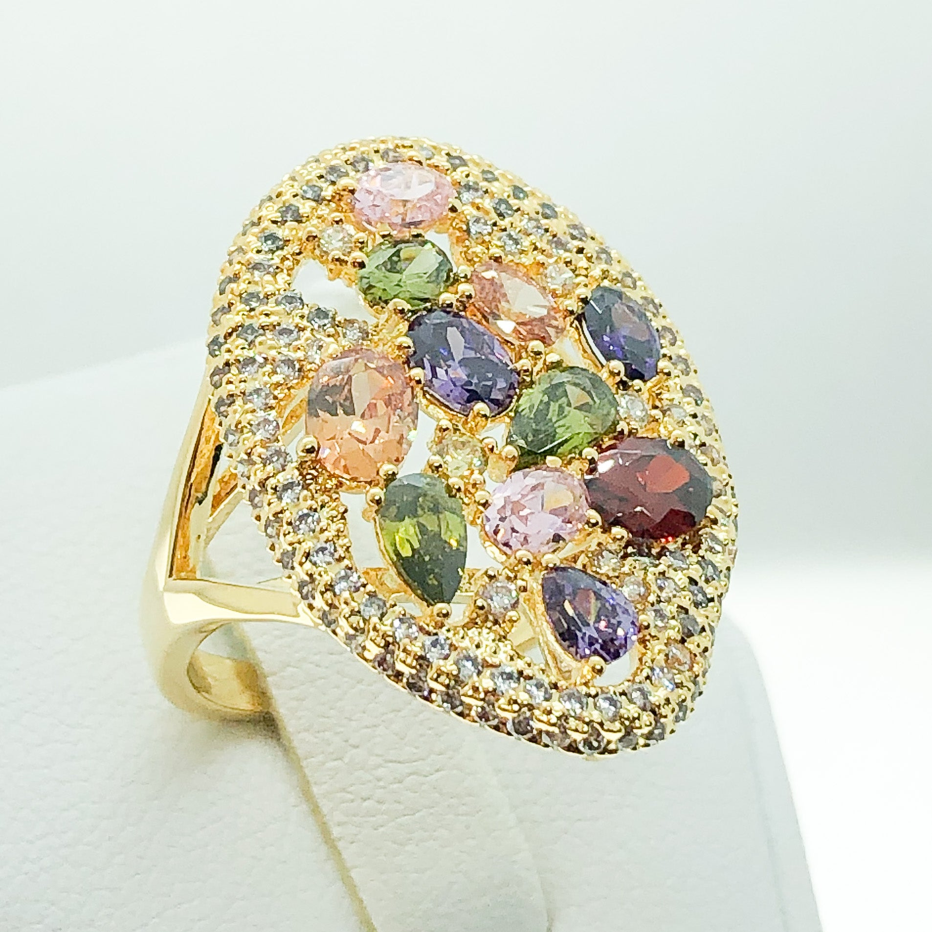 ID:R7137 Women Fashion Jewelry 18K Yellow Gold GF Shimmering Multi Gemstones Cluster Cocktail Ring
