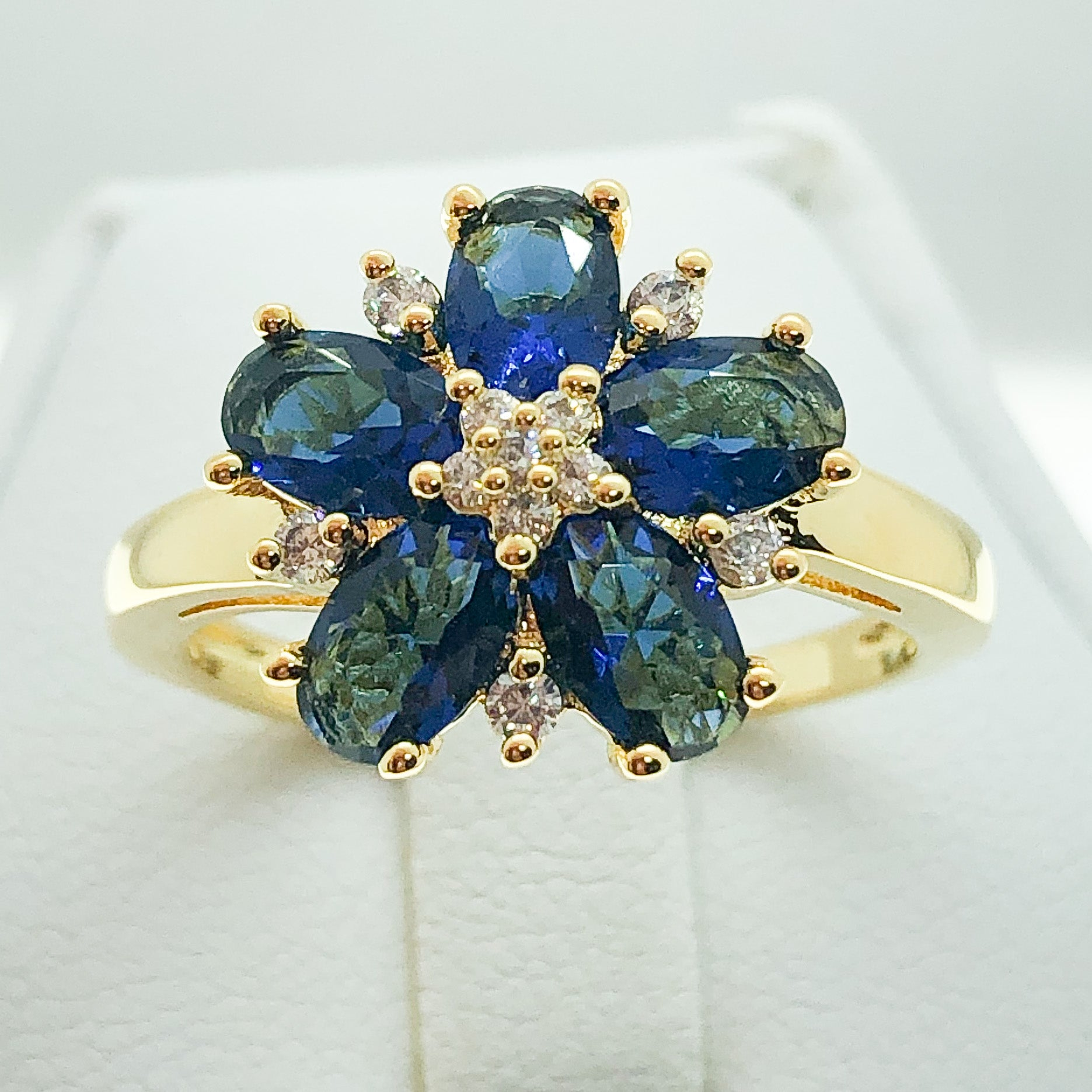 ID:R7166 Women 18K Yellow Gold GF Fashion Jewelry Sapphire and Clear Stone Floral Design Ring