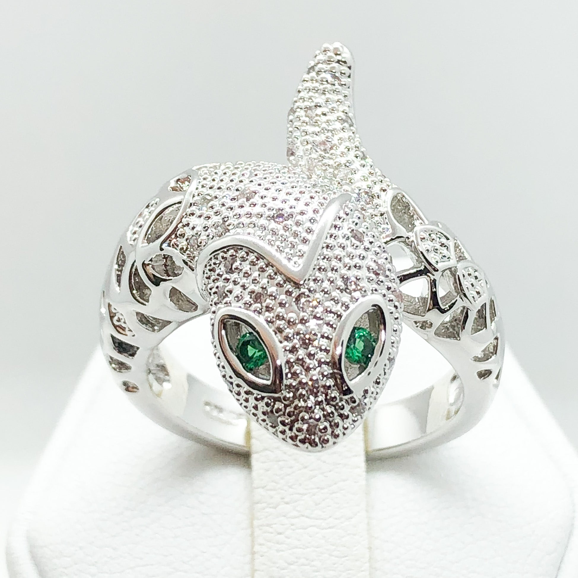 ID:R7132 Women Jewelry 18K White Gold GF Snake Design Ring With Emerald Eyes and Clear CZ Accent