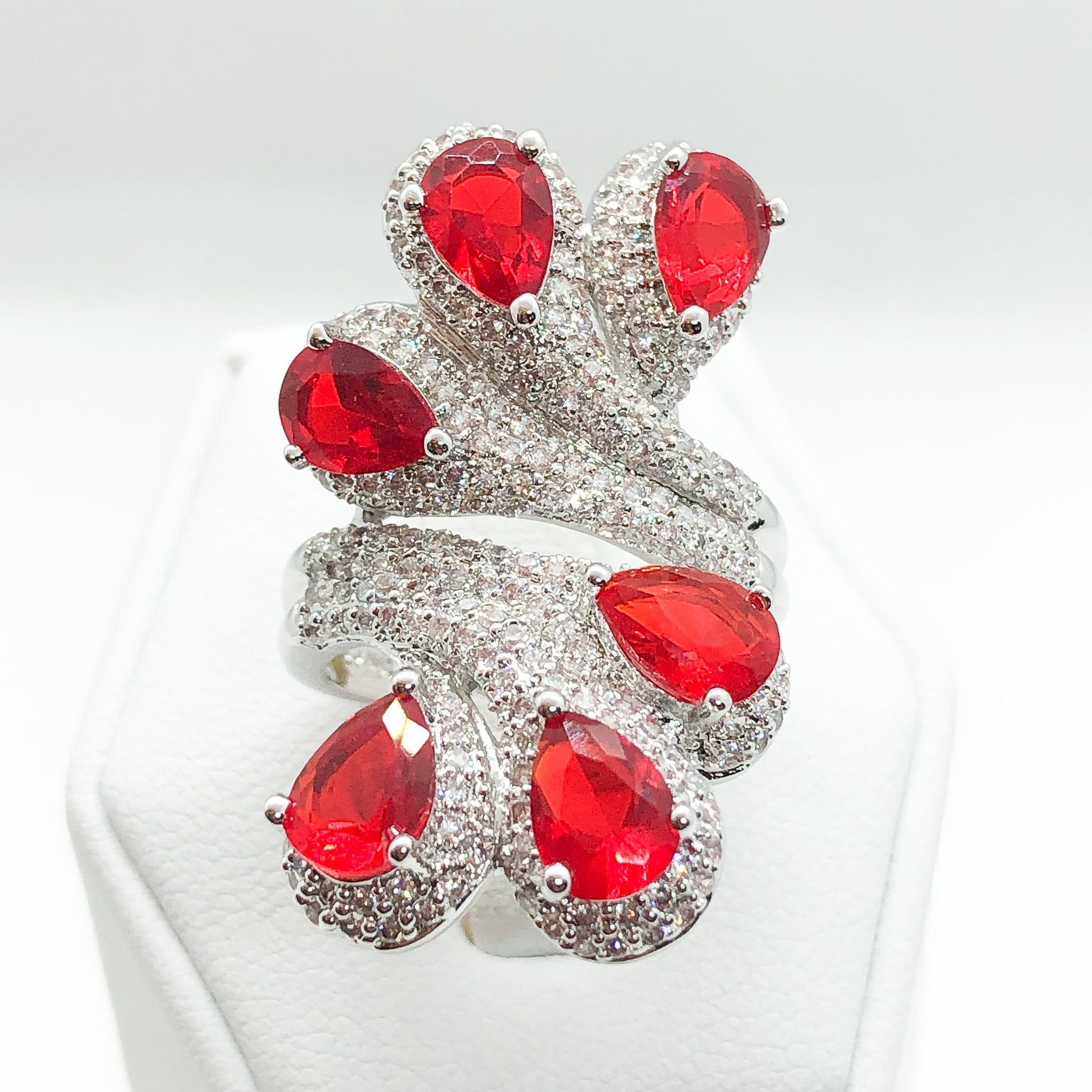 ID:R7123 Women 18K White Gold GF Jewelry Ruby With Clear Stone Accent Peacock Tail Cocktail Ring