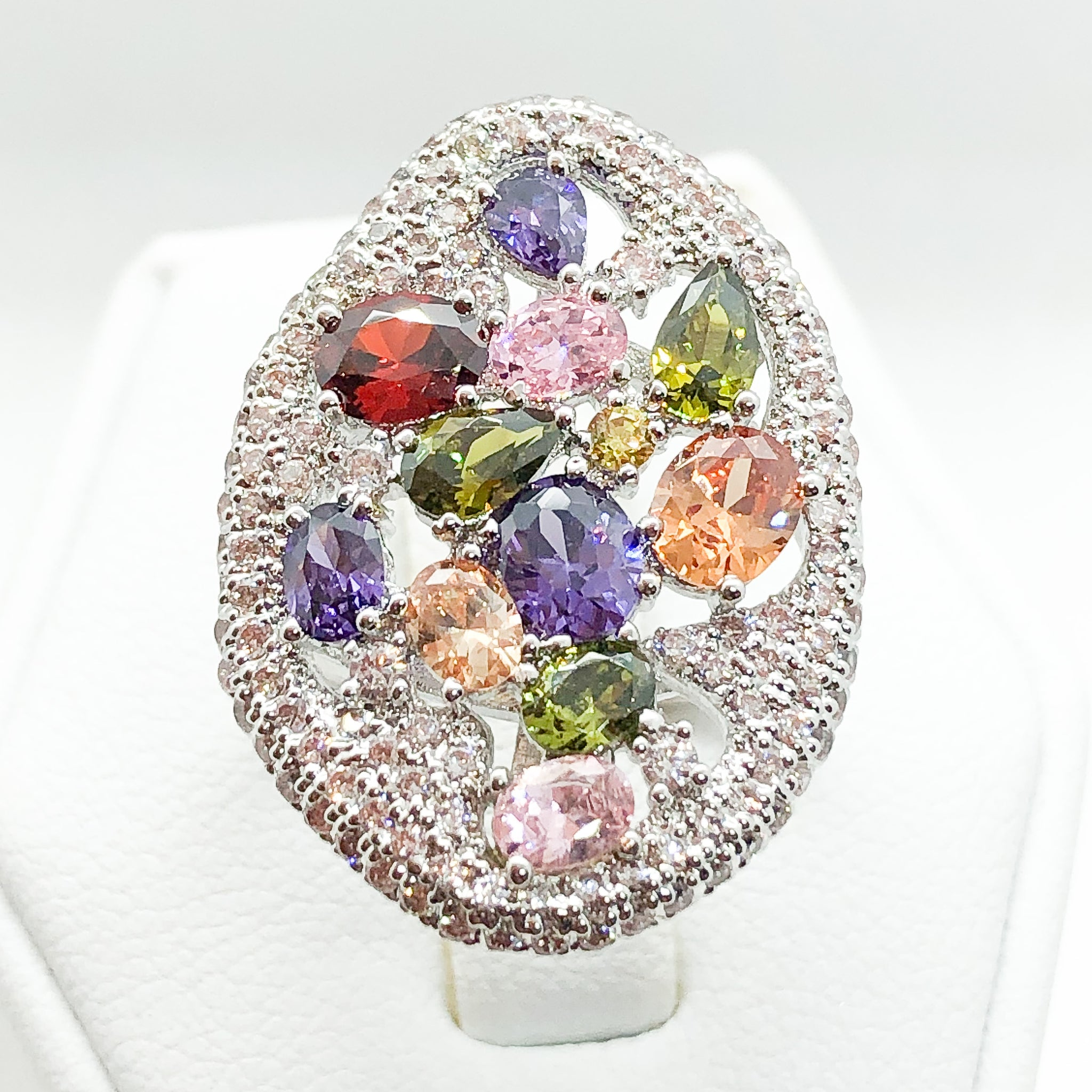 ID:R7137 Women Fashion Jewelry 18K White Gold GF Shimmering Multi Gemstones Cluster Cocktail Ring
