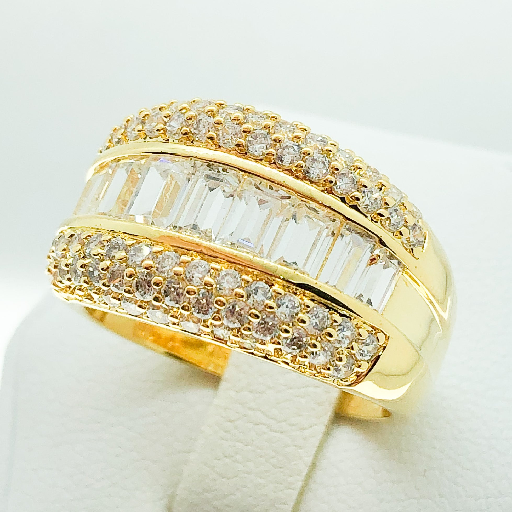 ID:R6999 Women 18K Yellow Gold GF Vintage Jewelry Engagement Wedding Baguette Eternity Band Ring