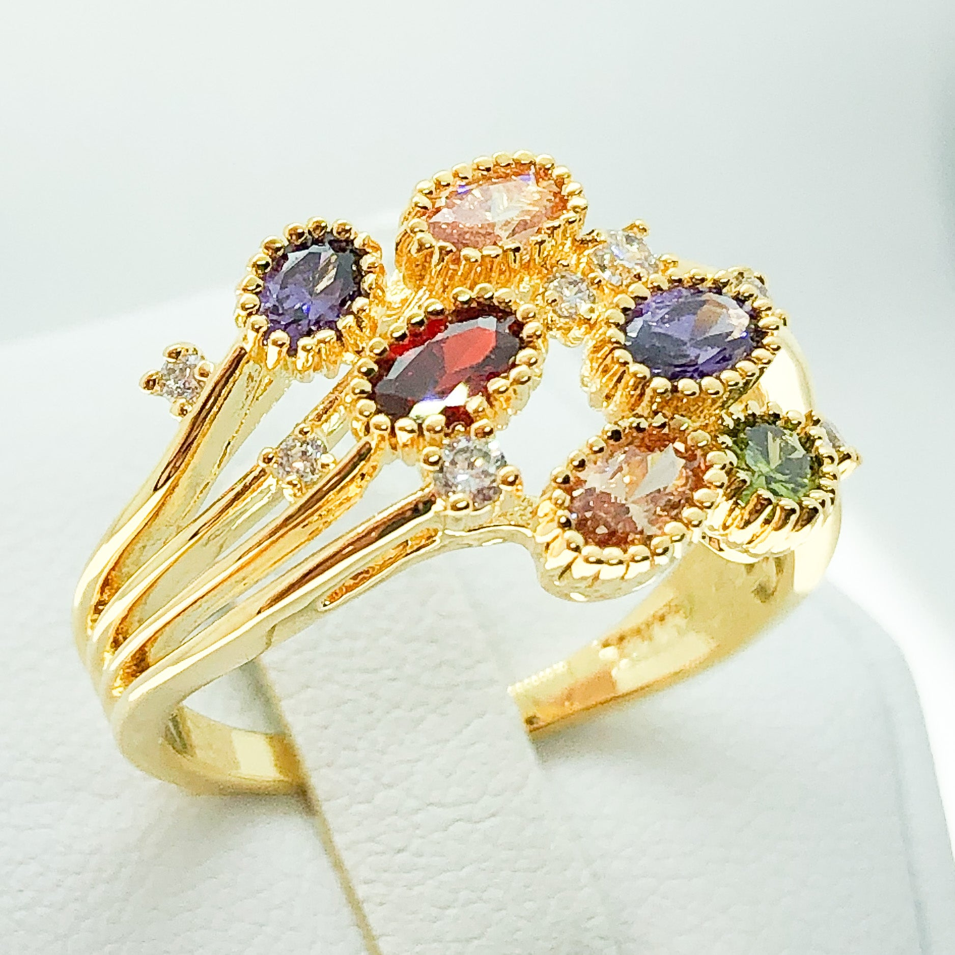 ID:R6976 Women 18K Yellow Gold GF Fashion Jewelry Comfortable Daily Wear Multi-Birthstones Cocktail Ring
