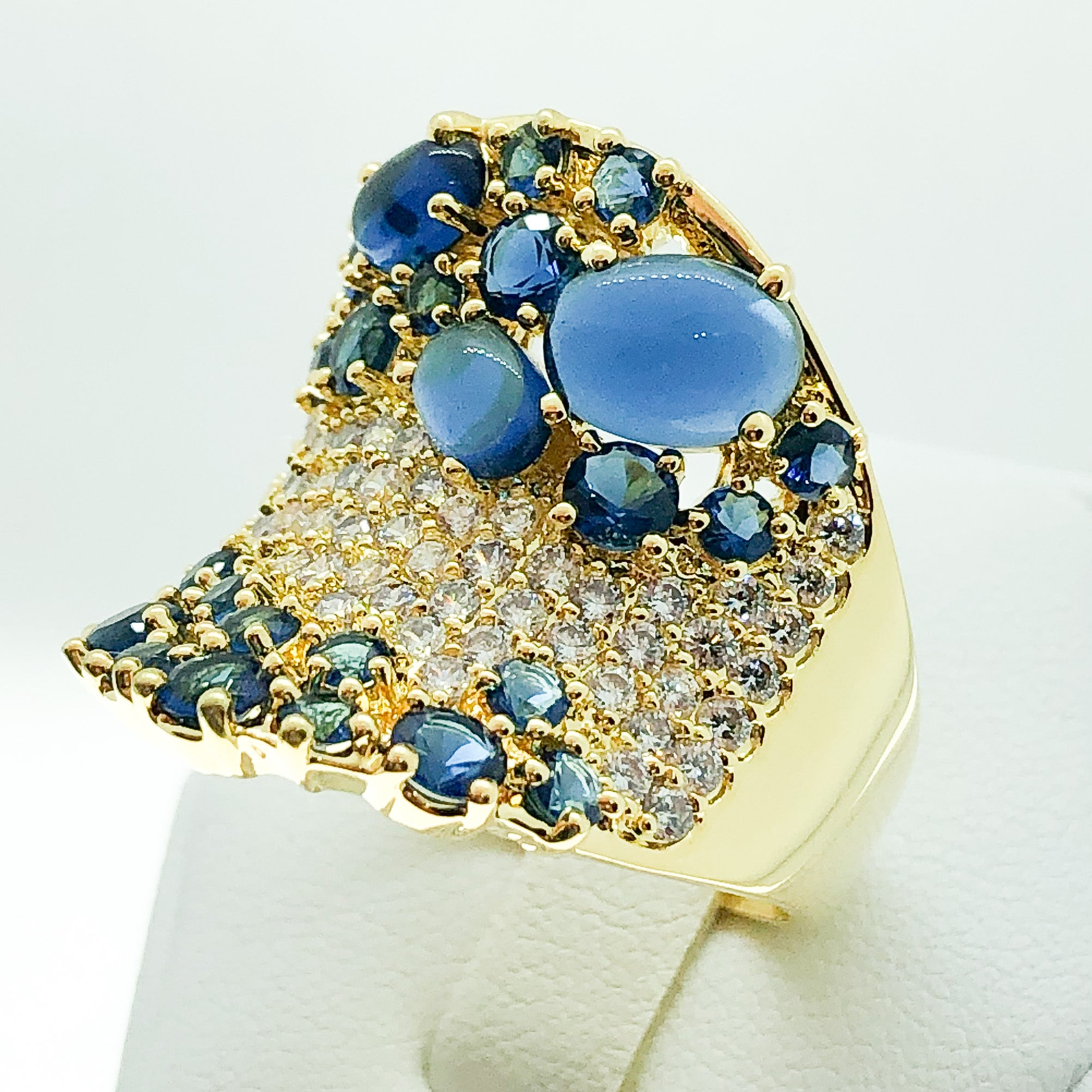 ID:R7011 Women 18K Yellow Gold GF Fashion Jewelry Brilliant Sapphire and Clear Stone Cluster Ring