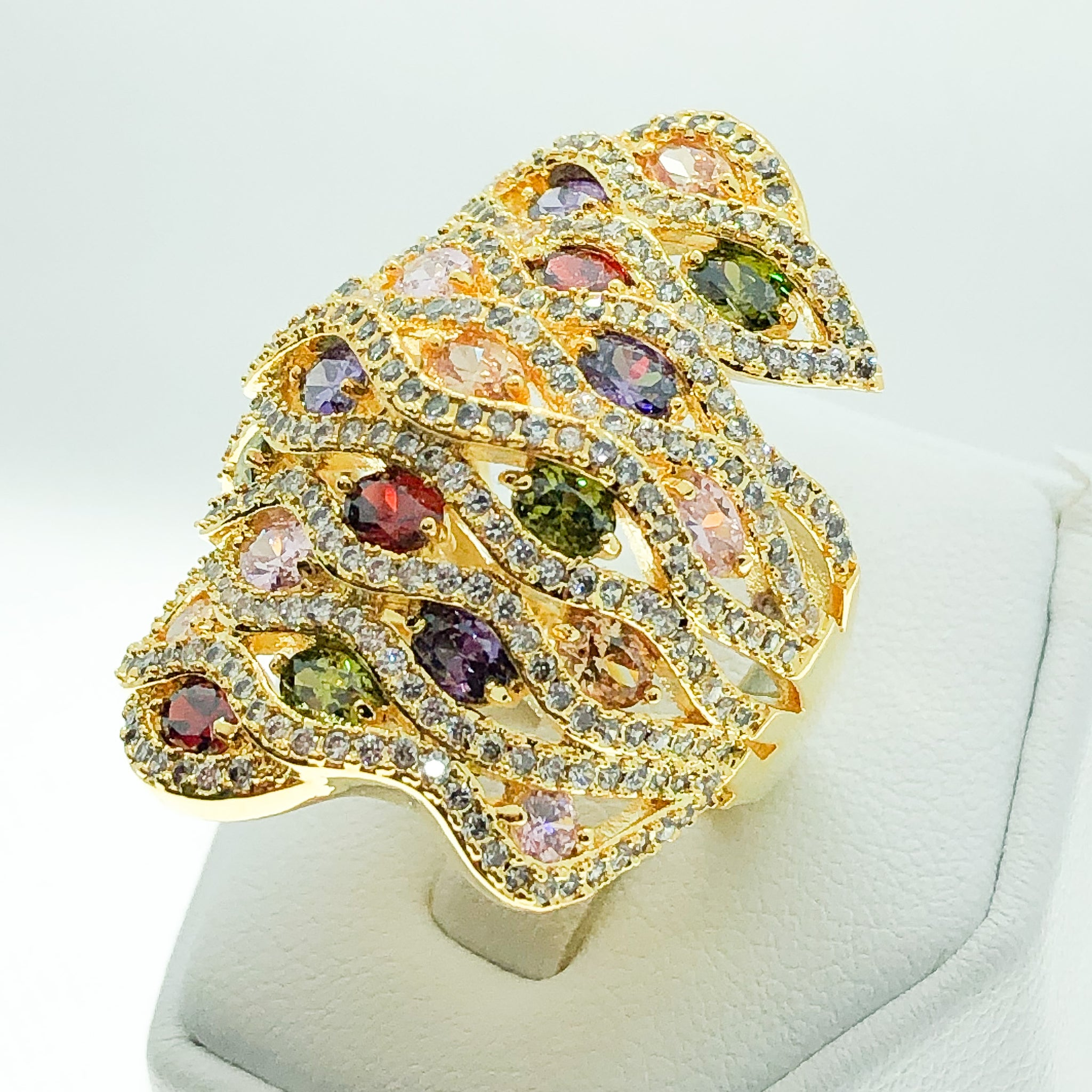 ID:R6827 Women 18K Yellow Gold GF Fashion Jewelry Color Birthstone Incredible Unique Big Cluster Ring
