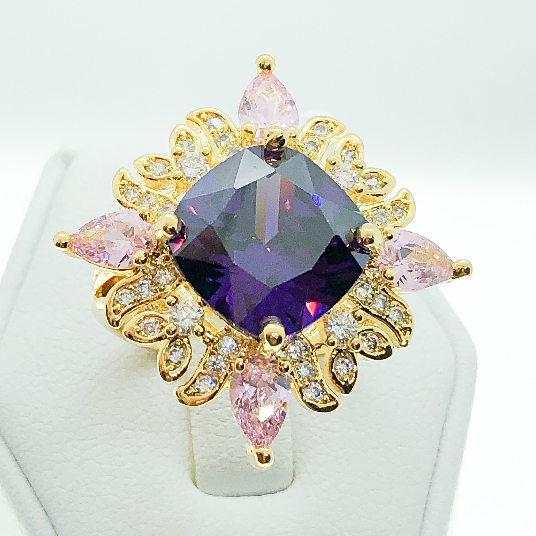 ID:R6963 Women 18K Yellow Gold GF Fashion Jewelry Cool Big Amethyst Multi-color stones Cocktail Ring
