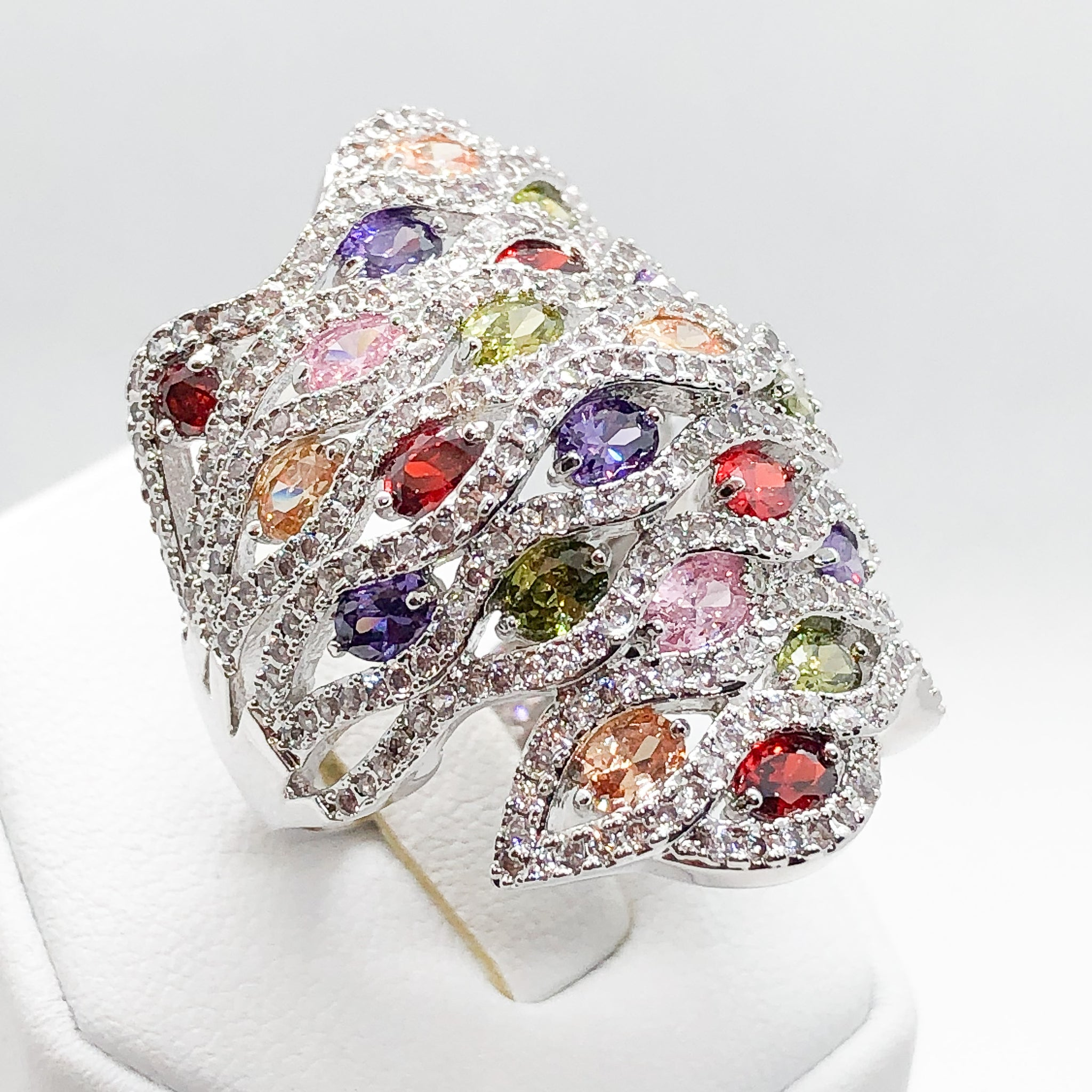 ID:R6827 Women 18K White Gold GF Fashion Jewelry Color Birthstone Incredible Unique Big Cluster Ring