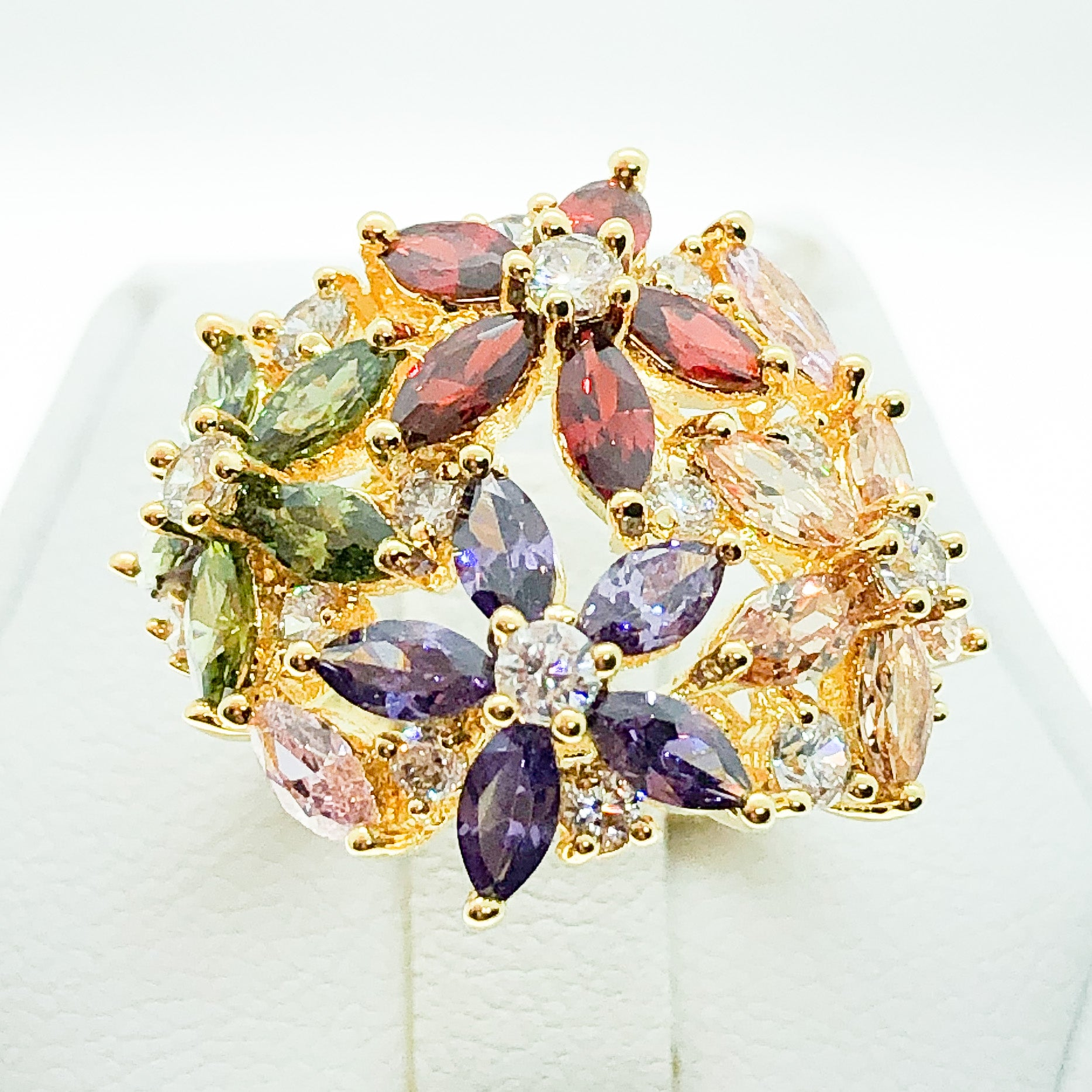 ID:R5821 Women 18K Yellow Gold GF Fashion Jewelry Multi-Color Gemstones Gorgeous Unique Floral Cluster Cocktail Ring