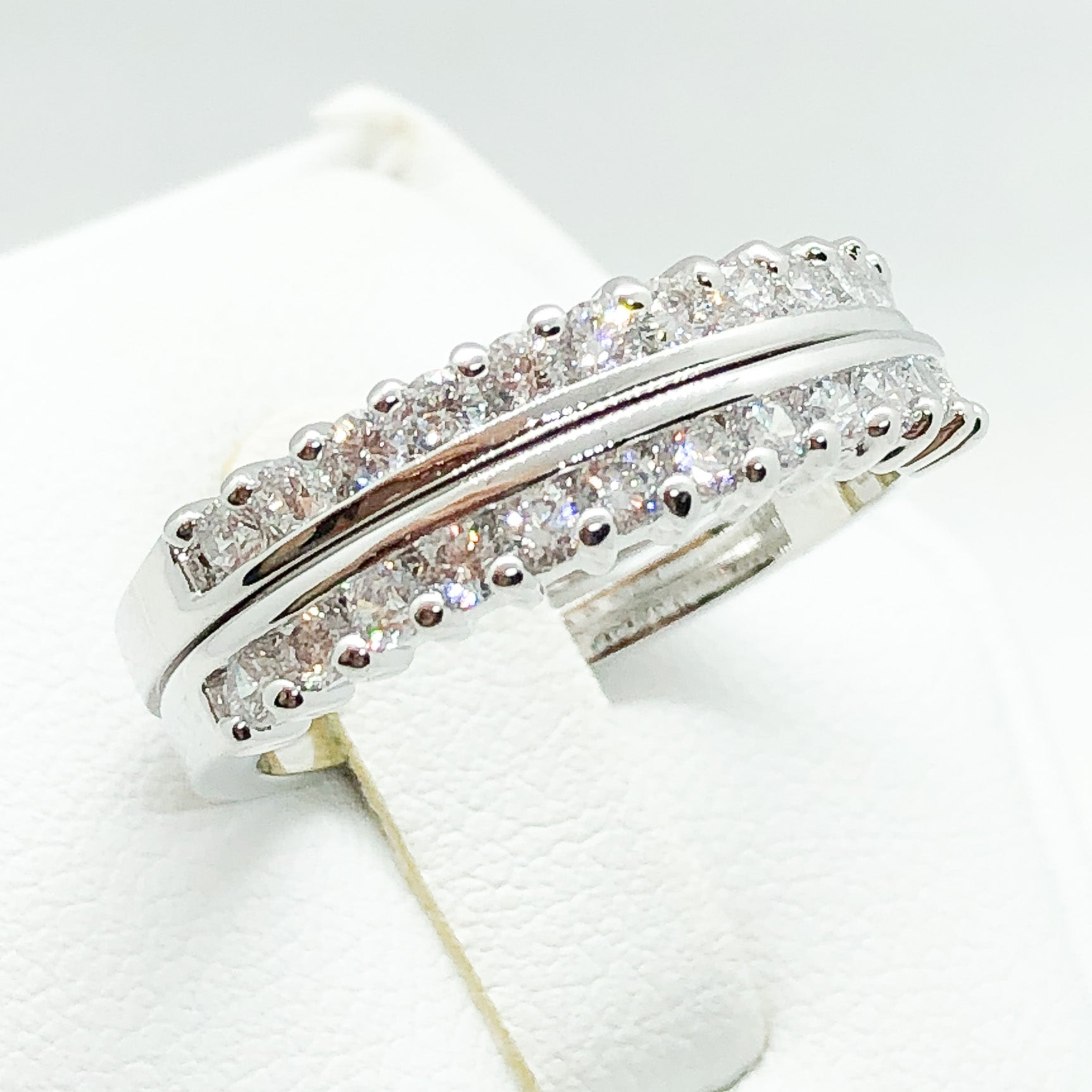 ID:R5354 Women Jewelry 18K White Gold GF Vintage Engagement Wedding Band Ring Delicate Bridal 2pcs/Set