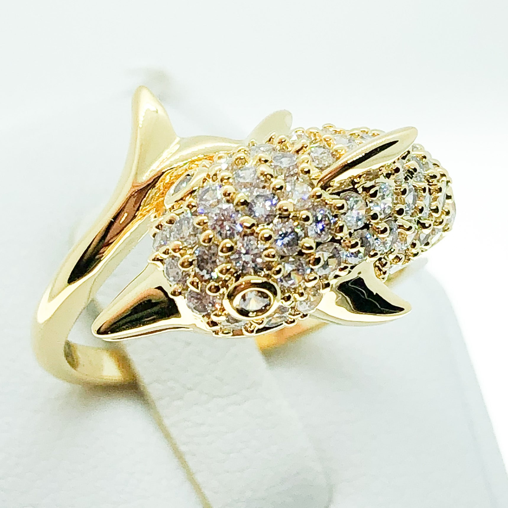 ID:R4973 Women 18K Yellow Gold GF Fashion Jewelry Marvelous Unique Dolphin Design Cluster Cocktail Gemstone Ring