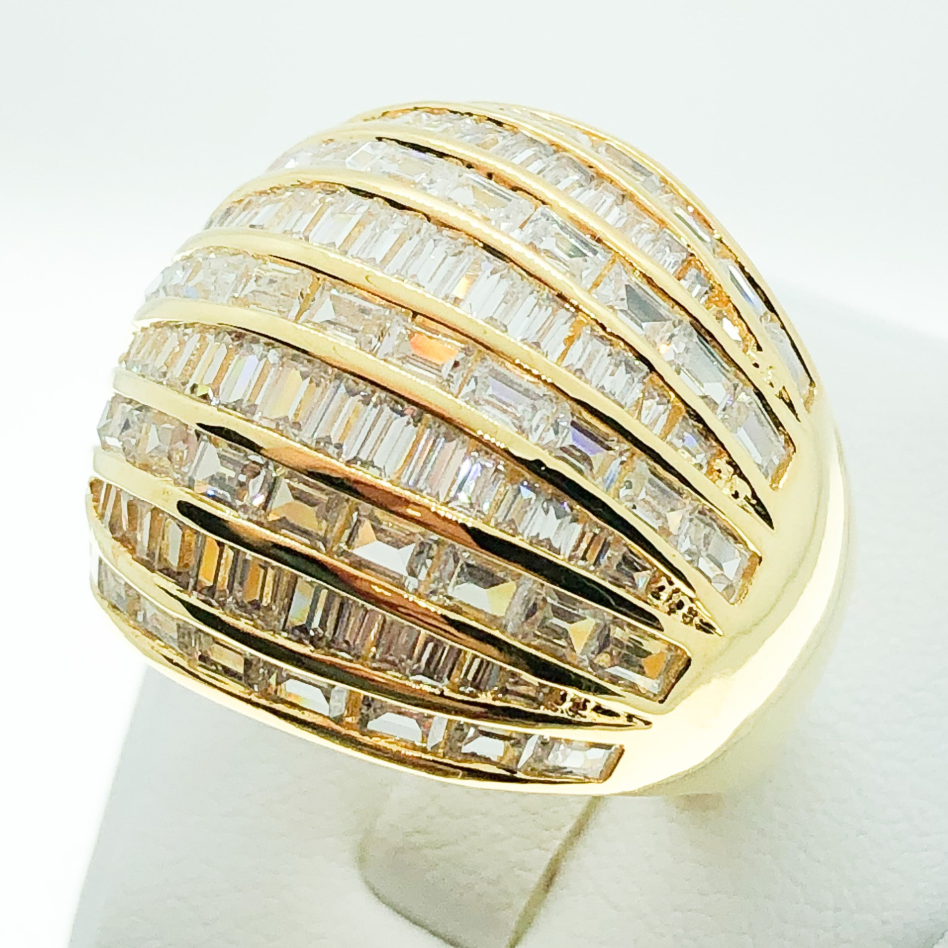 ID:R5018 Women 18K Yellow Gold GF Fashion Jewelry Impressive Unique Design Dome Cocktail Ring Anniversary Promise Gift
