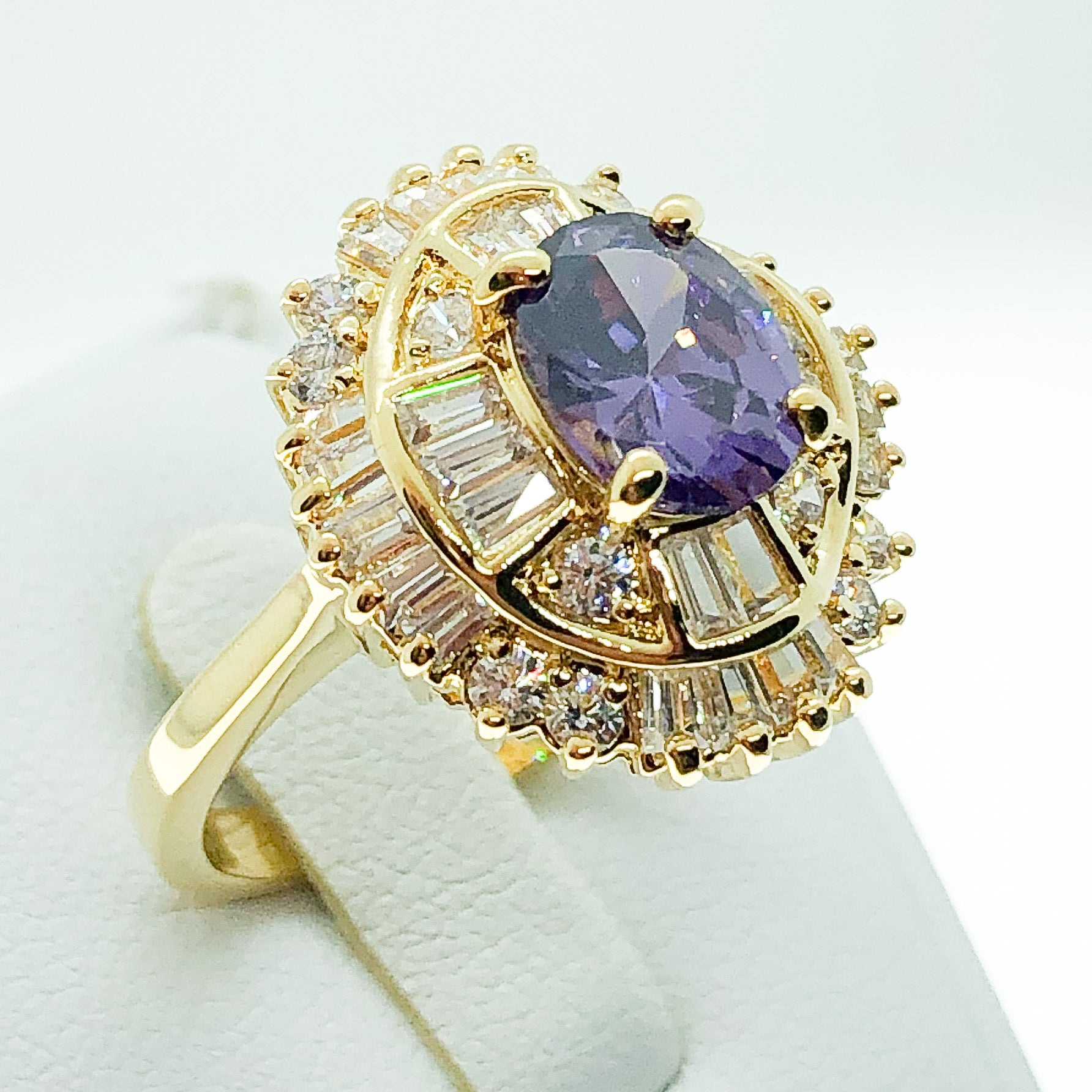 ID:R4801 Women 18K Yellow Gold GF Fashion Jewelry Amethyst Ring With Clear Gemstone Accent Anniversary Gift