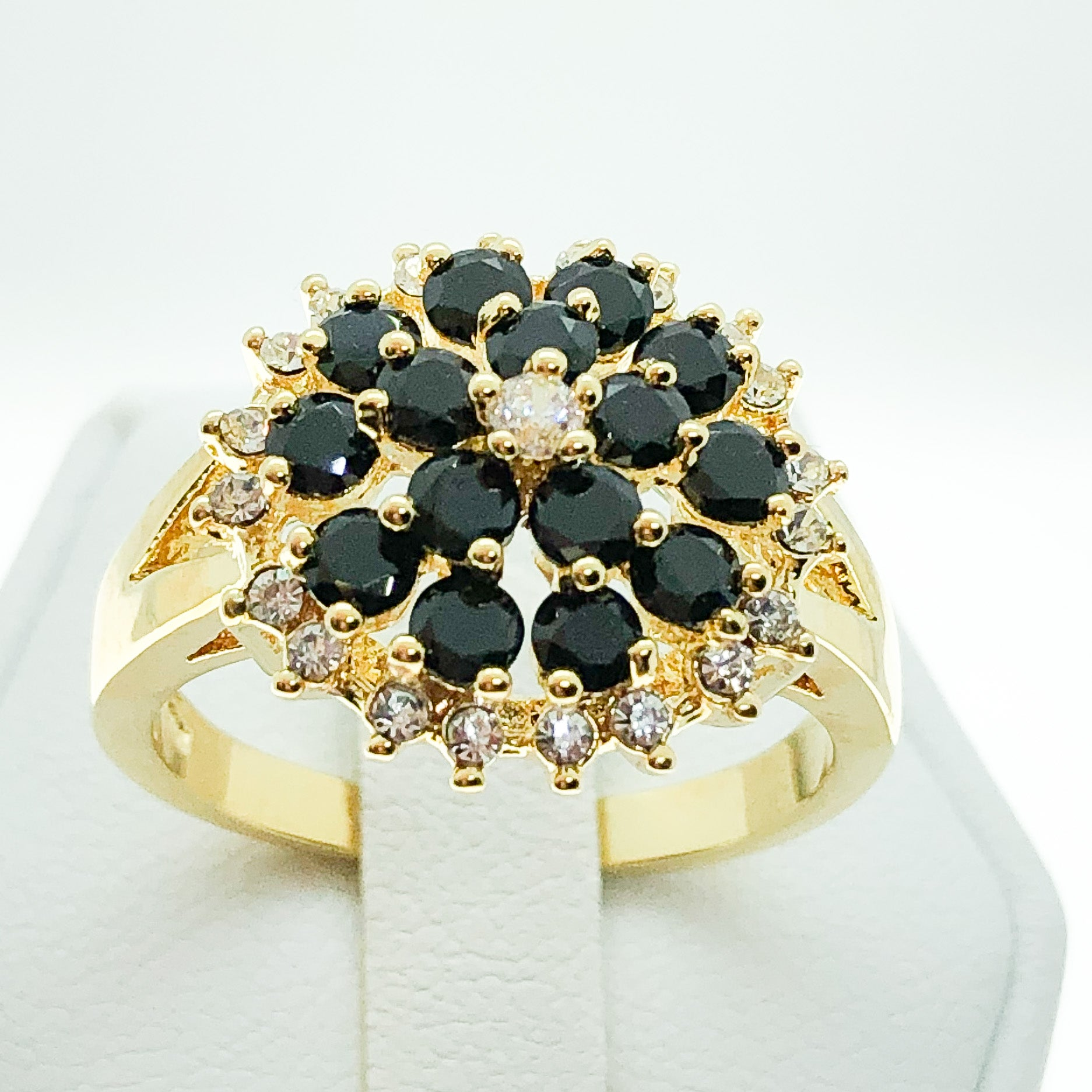 ID:R4717 Women 18K Yellow Gold GF Fashion Jewelry Charming Black and Clear Gemstones Ring Comfortable Daily Wear