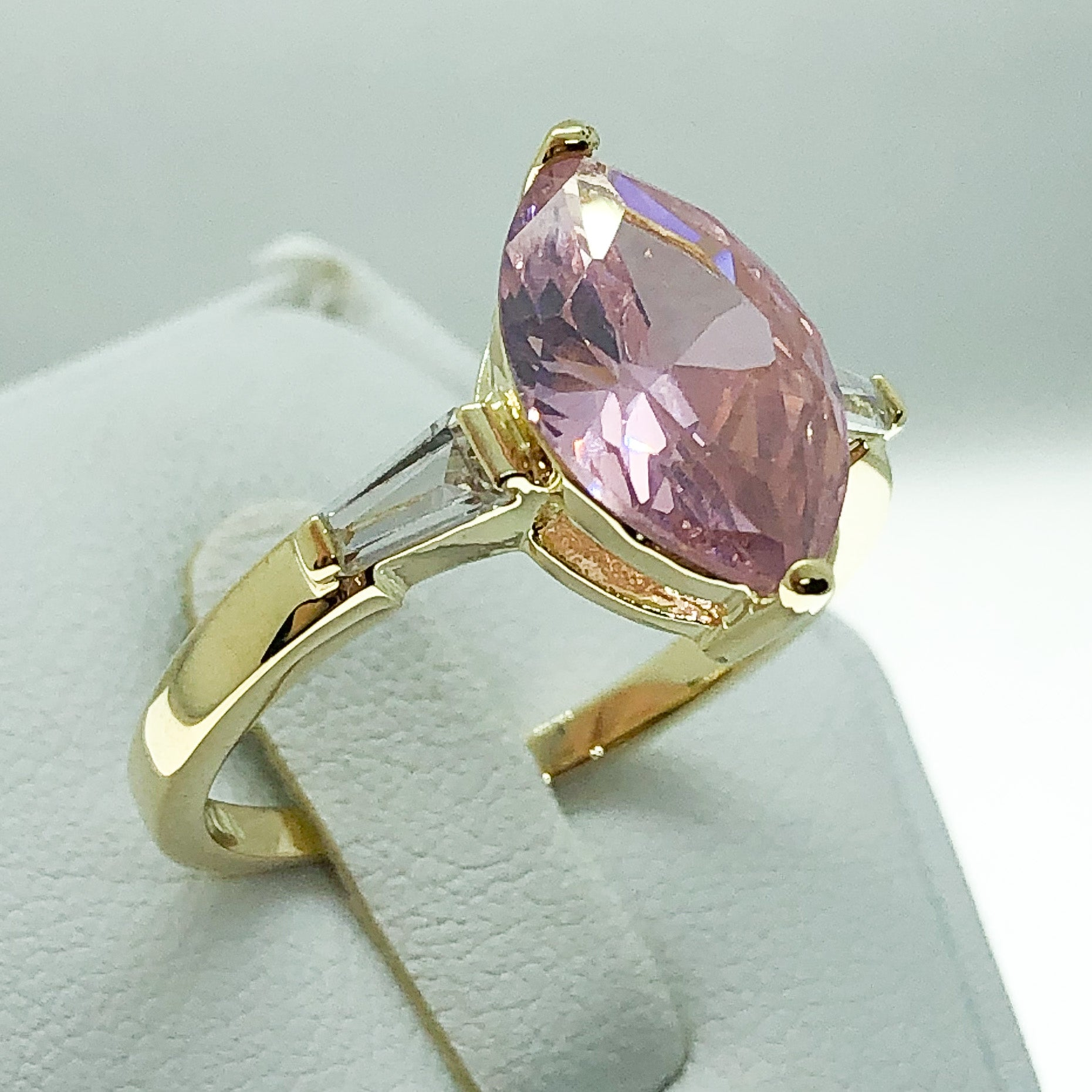 ID:R4654 Women 18K Yellow Gold GF Fashion JewelryPink Center Gemstone With Accent Ring Comfortable Daily Wear