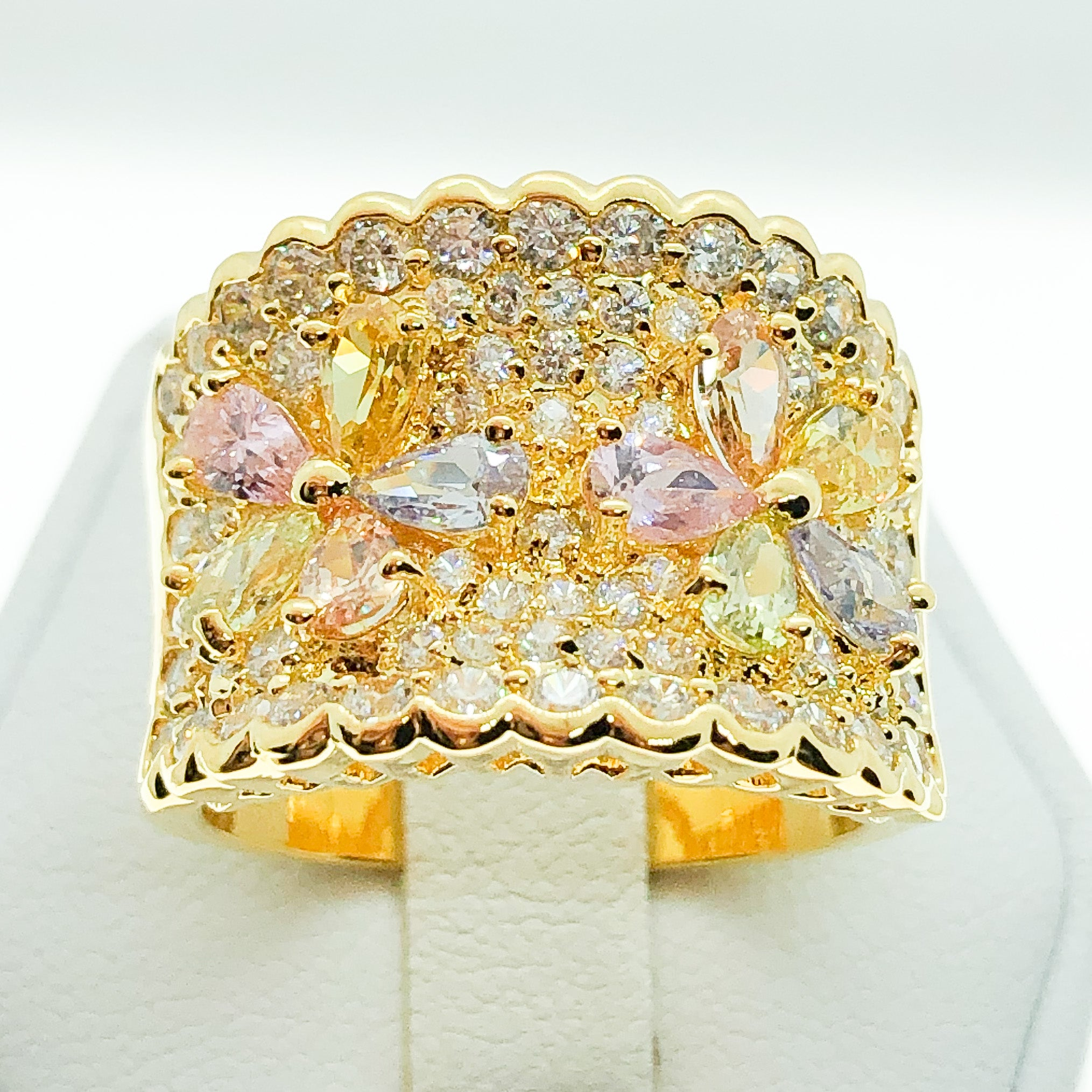 ID:R4596 Women 18K Yellow Gold GF Fashion Jewelry  Phenomenal Flower Design Color Gemstone Cocktail Band Ring