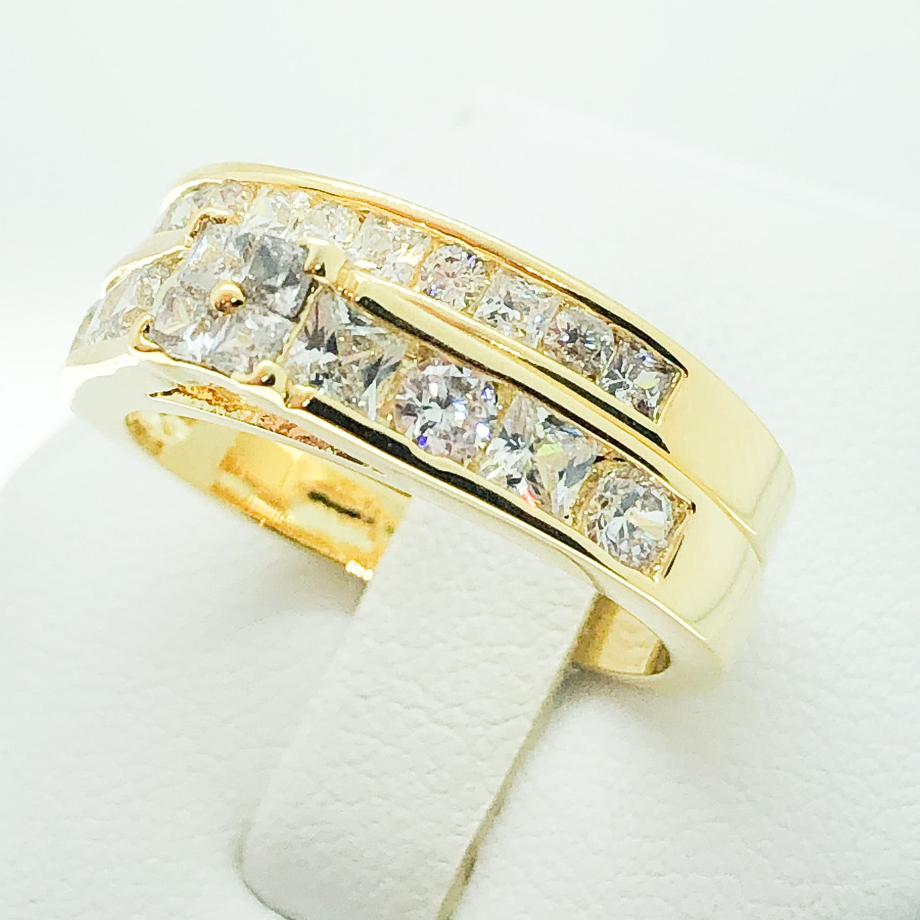 ID:R4019 Women Jewelry 18K Yellow Gold GF Vintage Engagement Wedding Bridal Diamonique Band 2pcs/Set Ring