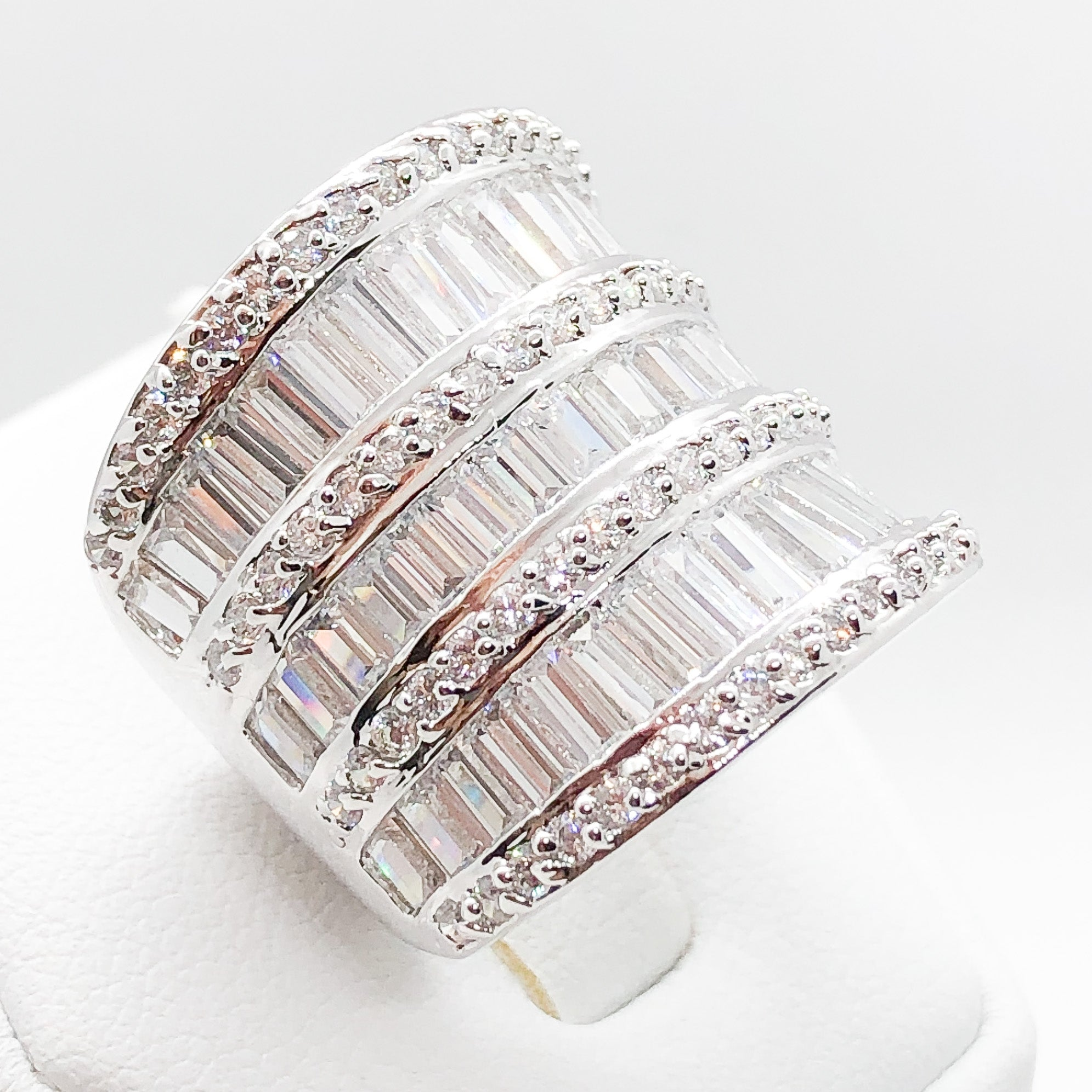 ID:R2527 Women Fashion Jewelry 18K White Gold GF Marvelous Engagement Promise Anniversary Diamonique Eternity Ring