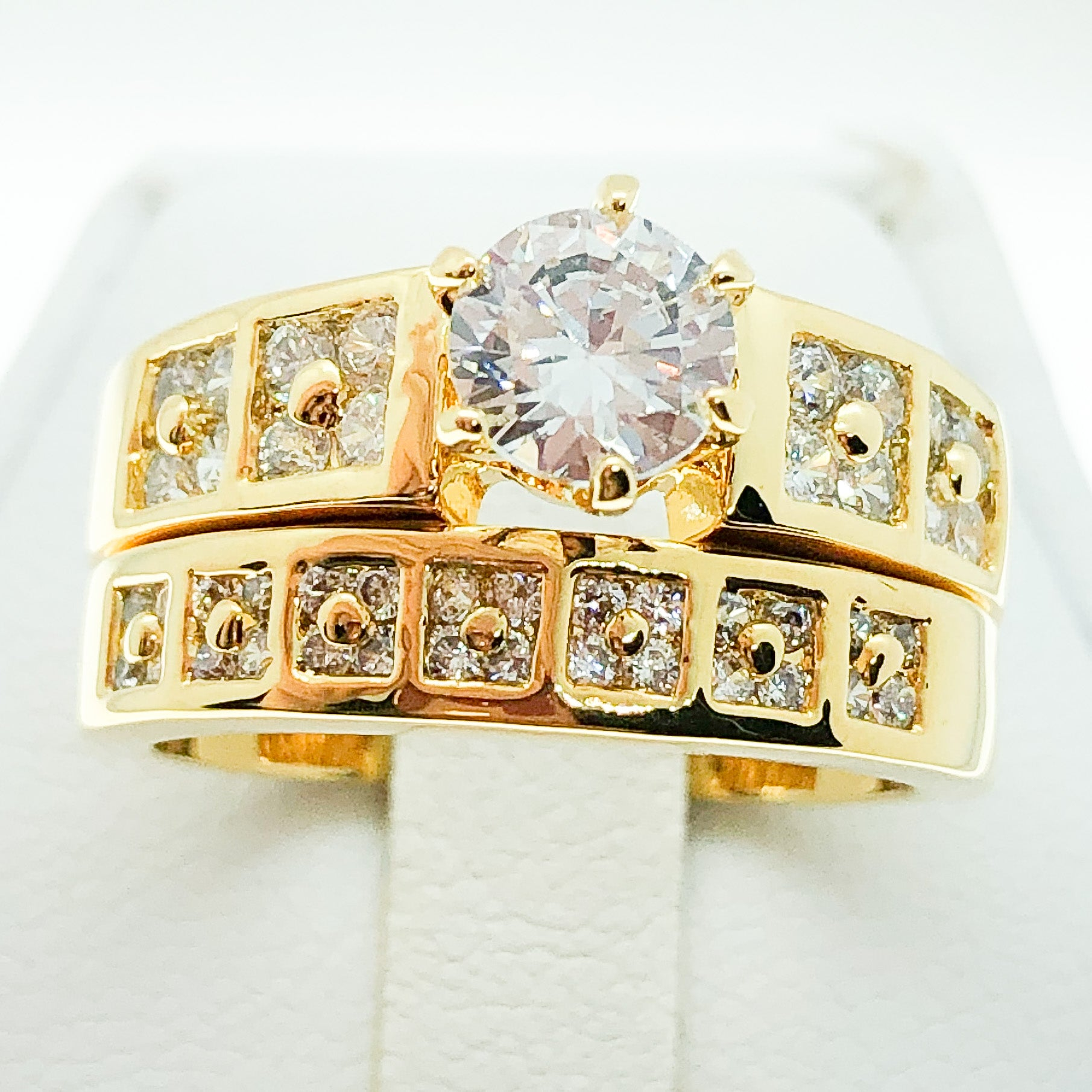 ID:R3590 Women Vintage Jewelry 18K Yellow Gold GF Excellent Engagement Wedding Diamonique Bridal Band Ring 2pcs/Set