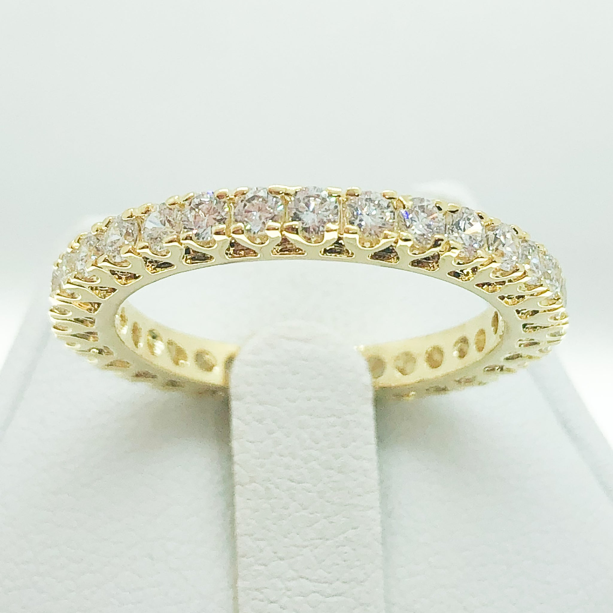 ID:R2073 Women Vintage Jewelry 18K Yellow Gold GF Radiant Engagement Wedding Promise Diamonique Bridal Eternity Band Ring