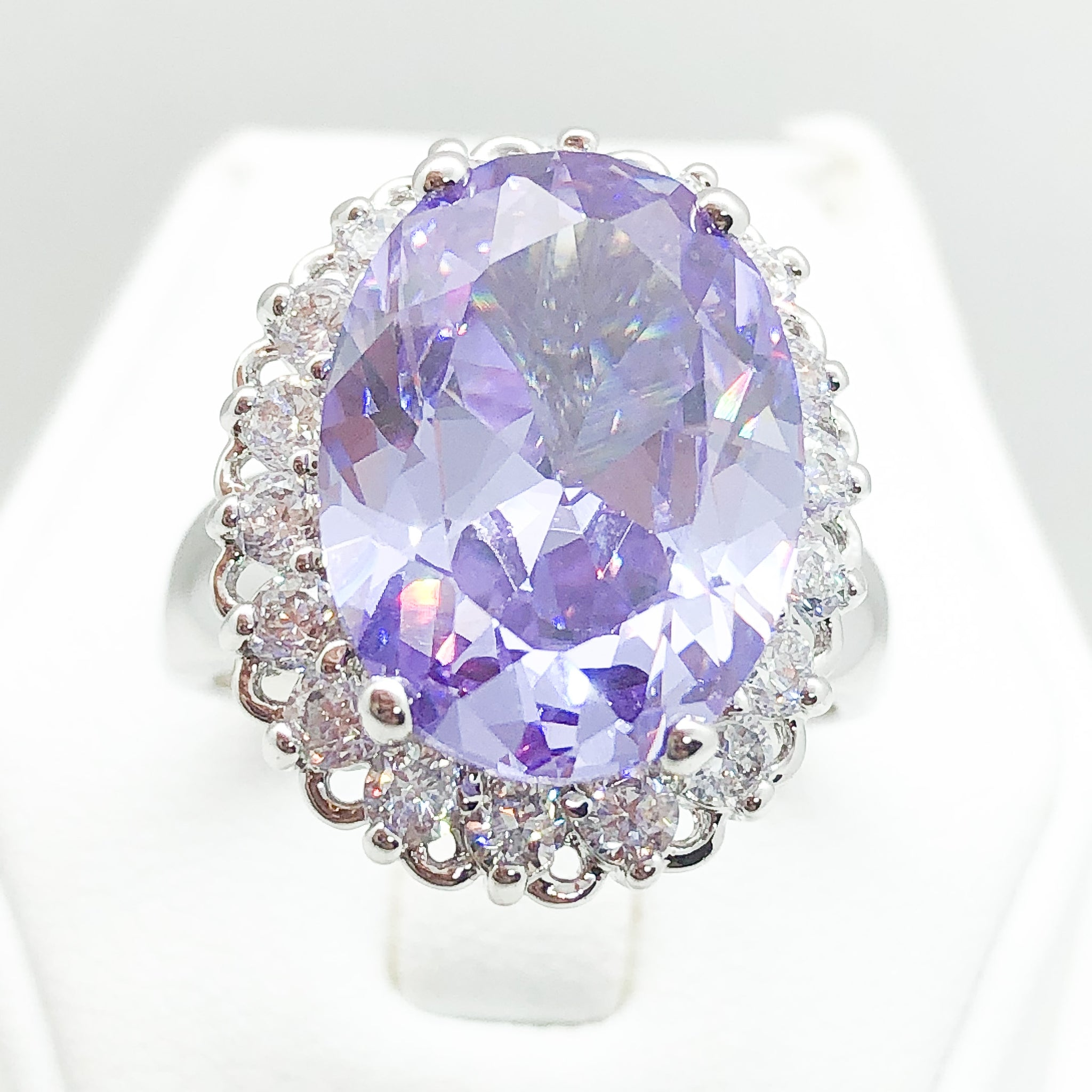 ID:R0350 Women Fashion Jewelry 18K White Gold GF Fabulous Amethyst Crystal Ring With Diamonique Accent Anniversary Gift