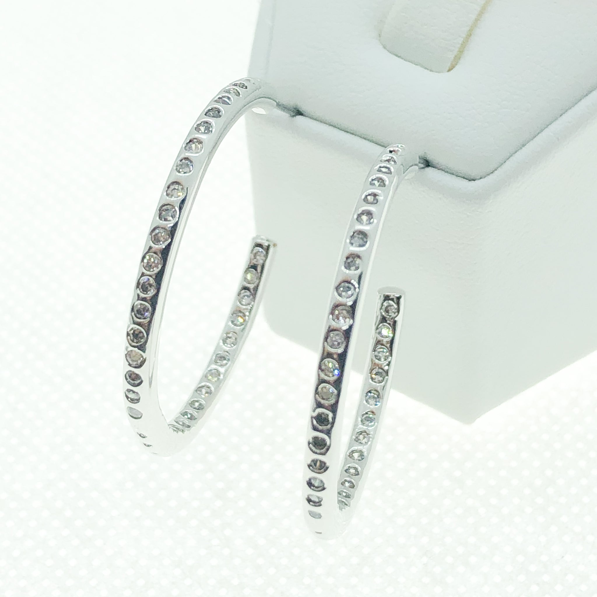 ID: E0256 Women Jewelry 18K White Gold GF Shining Clear Round Stones Earrings Fashion Lady Drop Dangle Hoop
