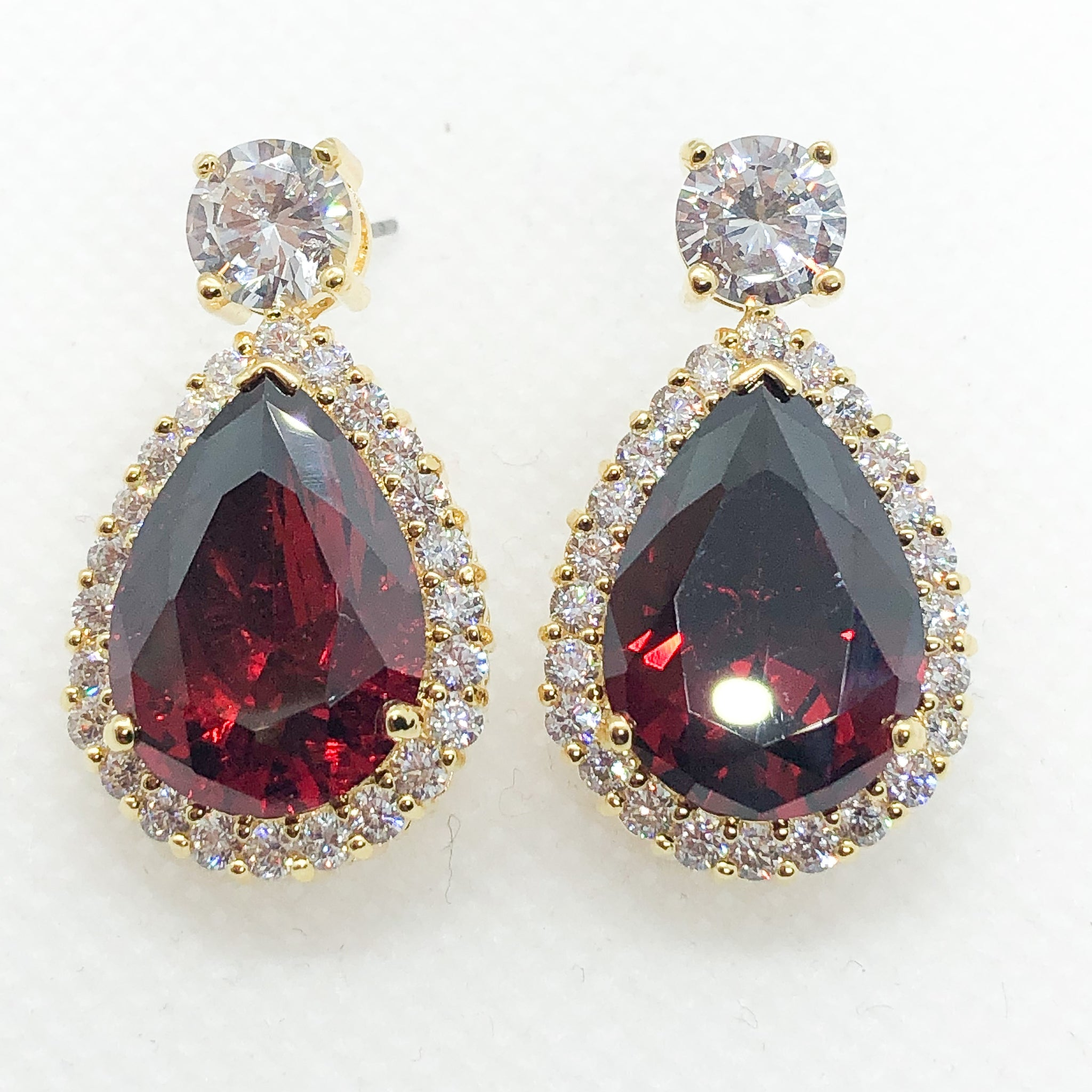 ID: E0788-4 Women 18K Yellow Gold GF Big Garnet with Clear Round Stones Earrings Fashion Lady Drop Dangle