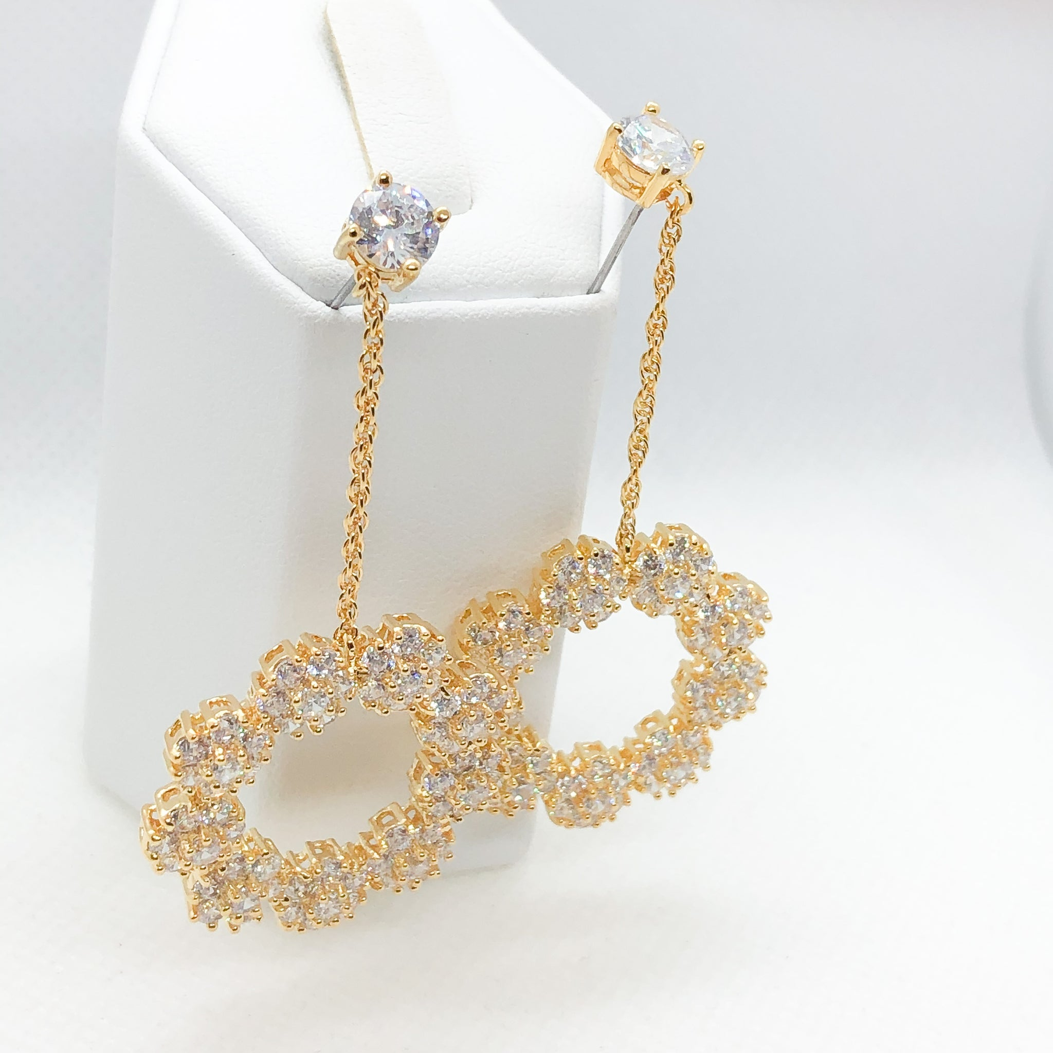 ID: E0803 Women Jewelry 18K Yellow Gold GF Shining Clear Round Stones Earrings Fashion Lady Drop Dangle