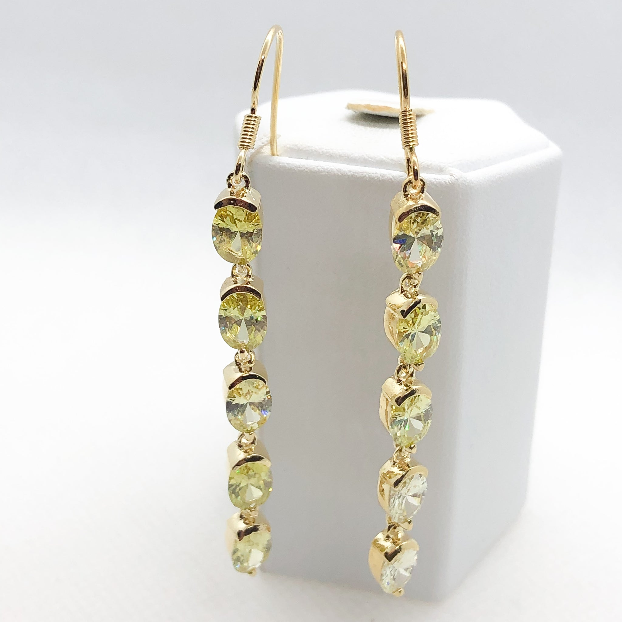 ID: E1124 Women Jewelry 18K Yellow Gold GF Green Crystal CZ Earrings Fashion Lady Drop Dangle