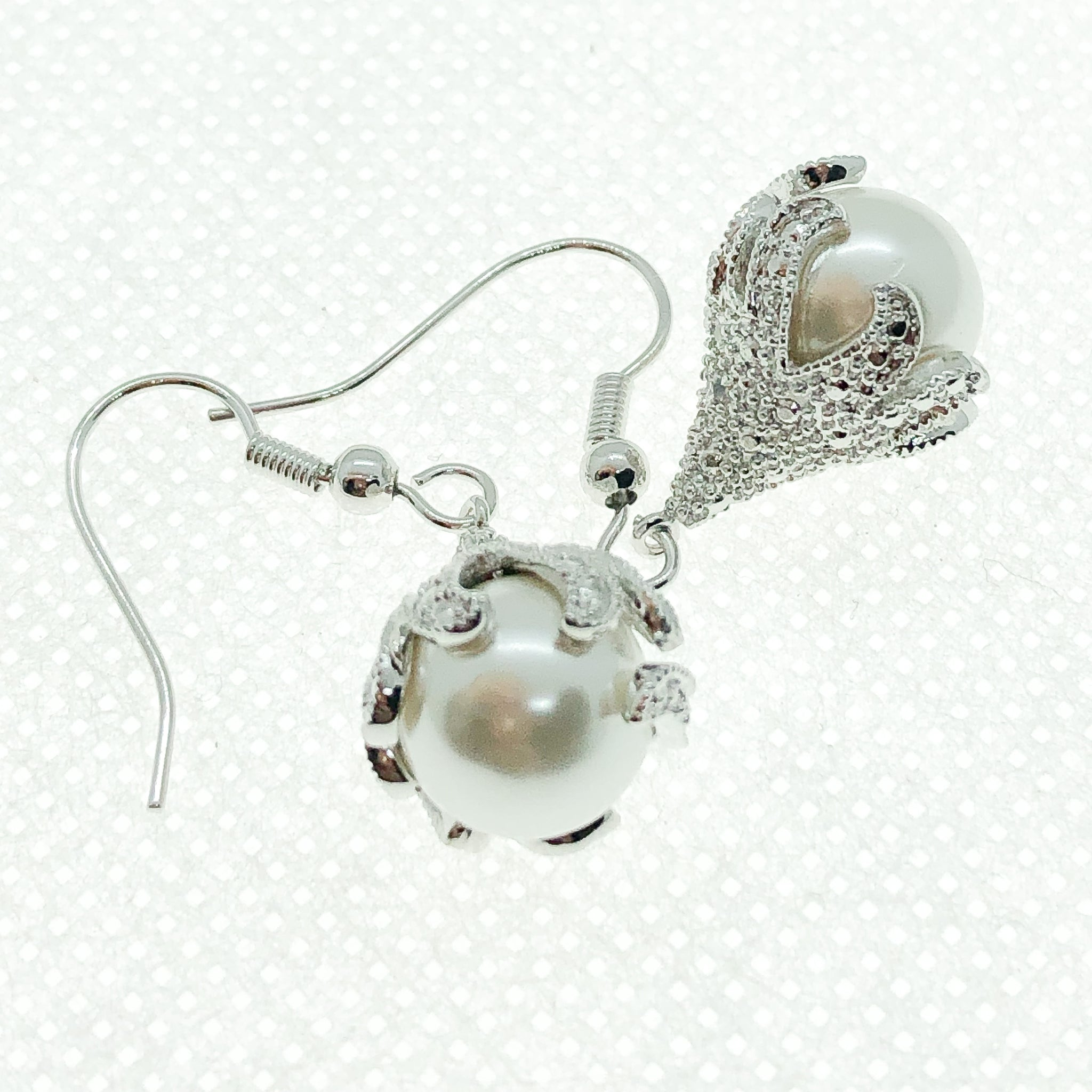 ID: E3457 WOMEN JEWELRY 18K WHITE GOLD GF PEARL WITH CLEAR ROUND STONES EARRINGS FASHION LADY DROP DANGLE GREAT FOR PARTY