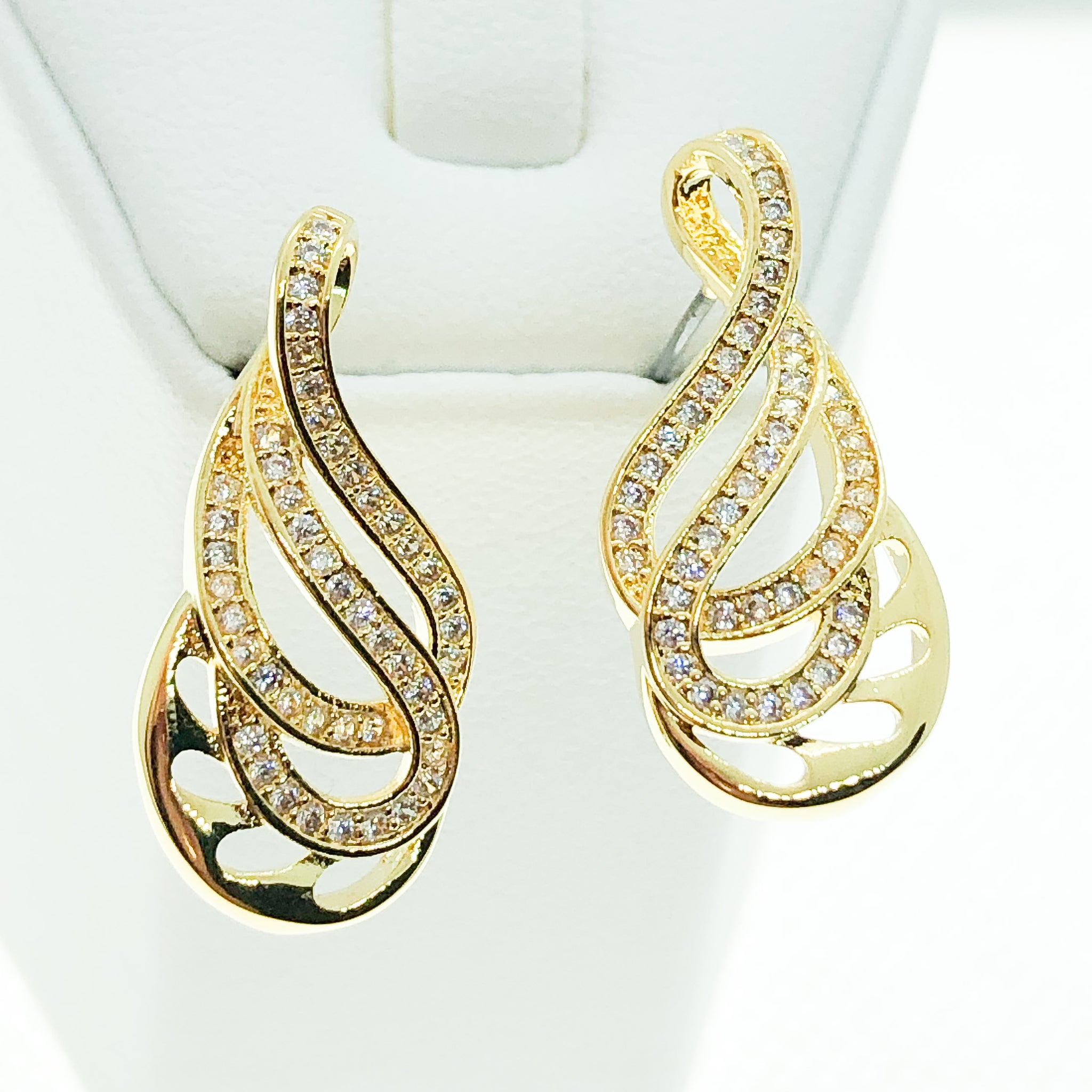 ID: E4210 WOMEN JEWELRY 18K YELLOW GOLD GF SHINING CLEAR ROUND STONES ETERNITY EARRINGS FASHION LADY DROP DANGLE
