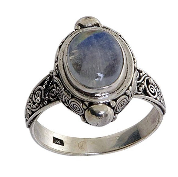 "NOVICA Sterling Silver Rainbow Moonstone Cocktail Ring, ""Magic Portal"""