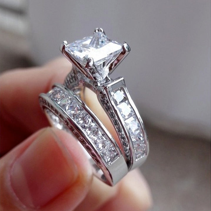 ID:R009 Women 18K White Gold GF Antique Jewelry Engagement Wedding 2pcs /Set Bridal Ring