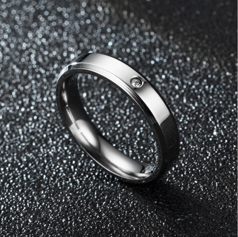 ID:R011 Women Jewelry Titanium Steel Burnished Classic Engagement Wedding Band Ring