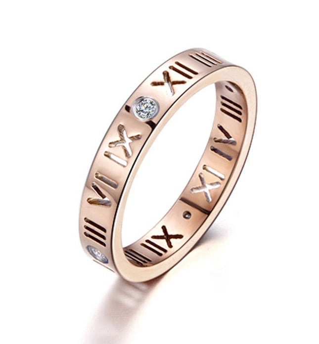ID:R017 Women Jewelry Rose Gold Plated Titanium Stainless Steel Classic Engagement Wedding Band Ring