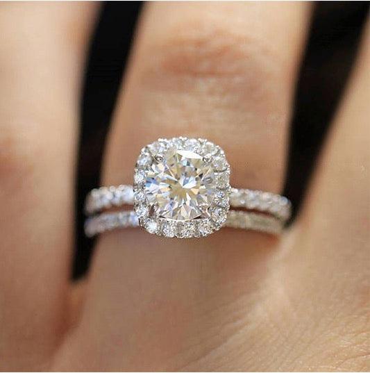 ID:R019 Women Jewelry 18K White Gold GF Classic Engagement Wedding Bridal Band 2pcs Ring Set