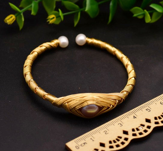 Women Graceful Handcrafted Unique Vintage .925 Sterling Silver Plated with 18K Yellow Gold Genuine Fresh Water Pearl Filigree Cuff Bracelet