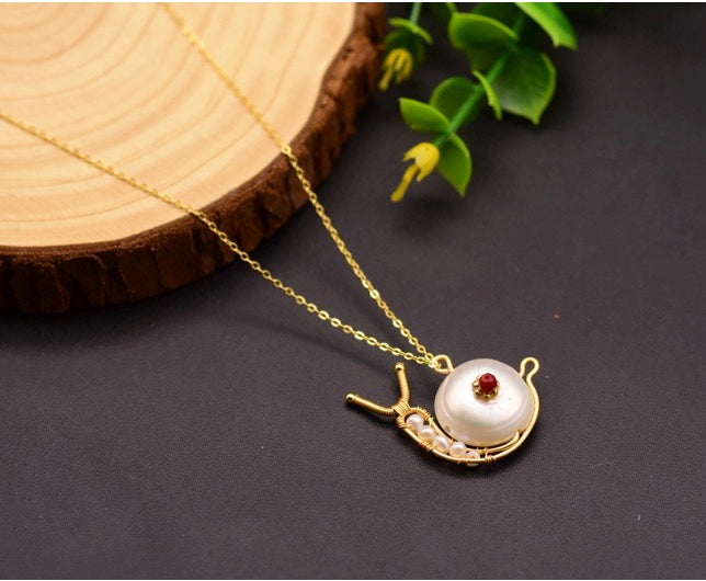 Handmade Women Jewelry 18K Yellow Gold Plated on 925 Sterling Silver Genuine Fresh Water Pearl & Period Snail Pendant Necklace