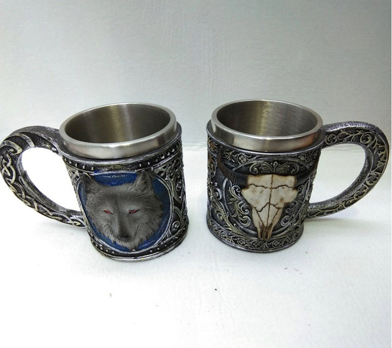 3D Stainless Steel /Resin Wolf/Goat Head Mug Coffee Cup Wine Beer Mugs
