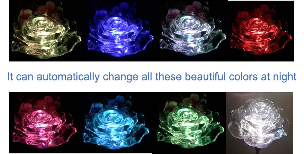 Solar Clear Rose Flower Color Change LED Light Garden Stake Outdoor Yard Landscape Lawn Decor Lamp