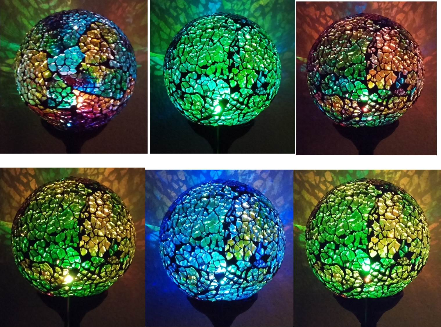 Solar Garden Yard Decor Mosaic Crackle Glass Ball Light Landscape Lawn Pathway Color Change LED Lamp