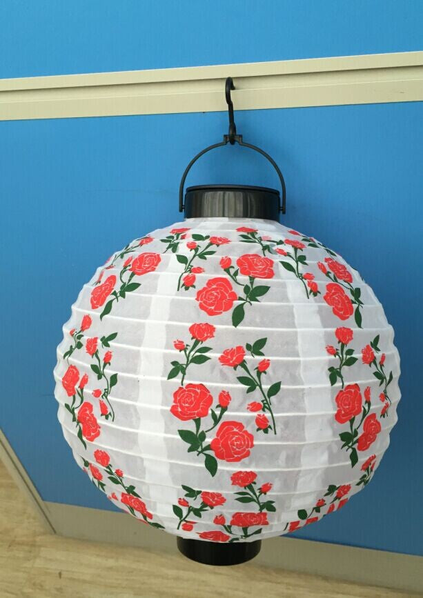 "Solar 10"" Soji Rose Flower Motion Sensor White LED Light Garden Porch Outdoor Waterproof Lantern"