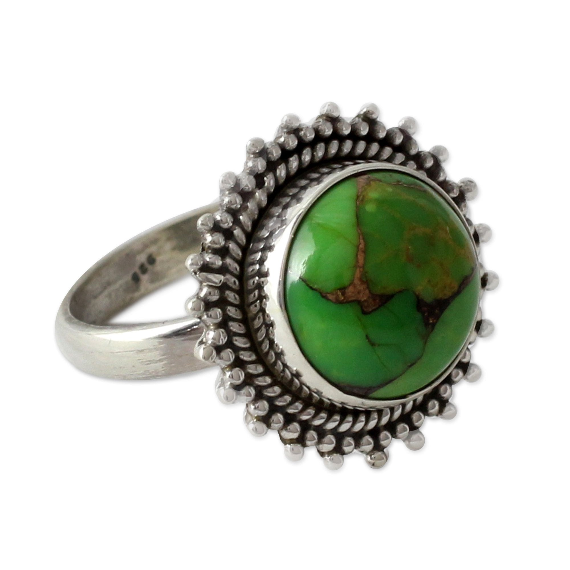 NOVICA Composite Handmade Round Green Reconstituted Turquoise .925 Sterling Silver Cocktail Ring, 'Verdant Promise'