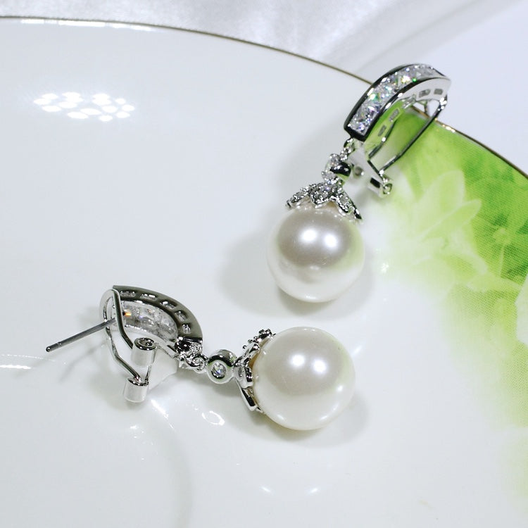ID: E0783 Women Jewelry 18K White Gold GF Pearl with Clear Round Stones Earrings Fashion Lady Drop Dangle