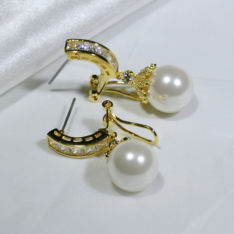 ID: E0783 Women Jewelry 18K Yellow Gold GF Pearl with Clear Round Stones Earrings Fashion Lady Drop Dangle
