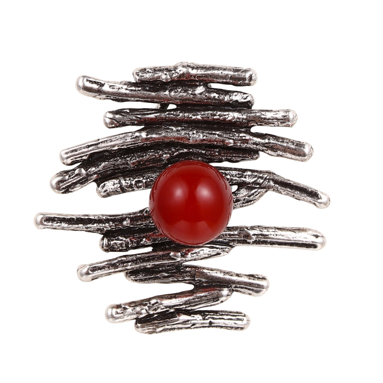 Women Jewelry Solid .925 Sterling Silver Distinctive Handcrafted Red Agate Gemstone Pendant
