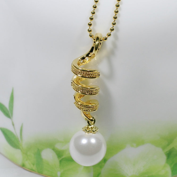 ID: P0444 Women 18K Yellow Gold GF Pearl and Clear Stones Pendant Fashion Anniversary Jewelry