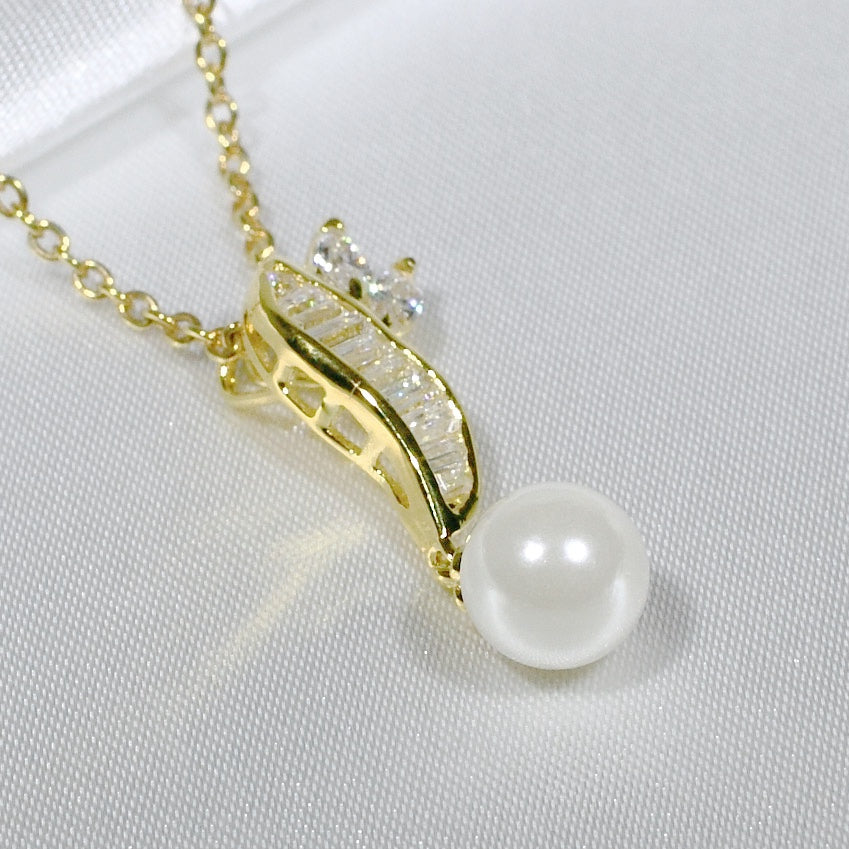 ID: P1048 Women 18K Yellow Gold GF Pearl and Clear Stones Pendant Fashion Anniversary Wedding Jewelry