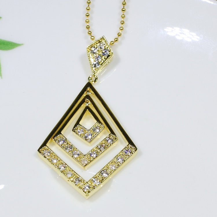 ID: P1140 Women 18K Yellow Gold GF Shining Clear Stones Pendant Fashion Party Jewelry